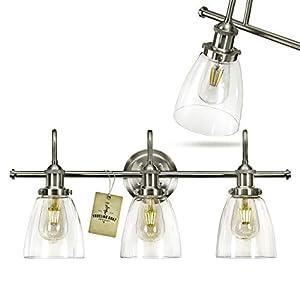 Bathroom Light Fixture – Farmhouse, Vintage, Industrial – 3 Light Bathroom Vanity Light Fixture Brushed Nickel