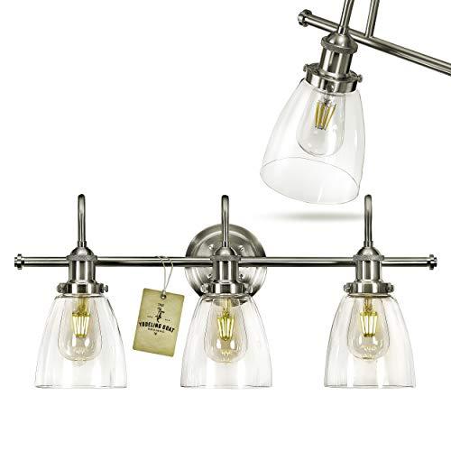 Bathroom Light Fixture - Farmhouse, Vintage, Industrial - 3 Light Bathroom Vanity Light Fixture Brushed Nickel