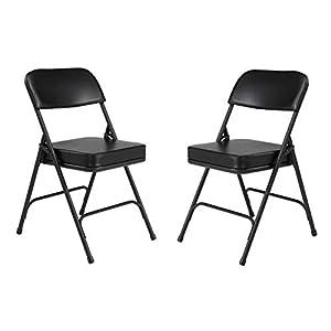 (2 Pack) NPS 3200 Series Premium 2″ Vinyl Upholstered Double Hinge Folding Chair, Black