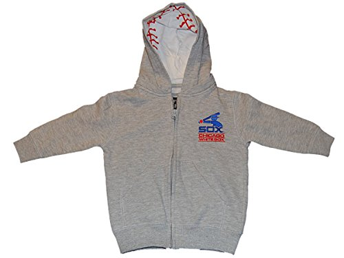 Chicago White Sox SAAG Infant Gray Zip Up Hooded Long Sleeve Jacket (12 mo)