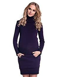 Happy Mama Womens Maternity Stretchy Knitted Tunic Mini Dress Roll Neck. 178p