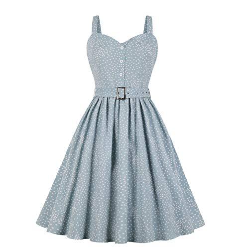 Wellwits Women's Polka Dots Pocket Summer Strap Sundress 50s Vintage Dress S Light Blue