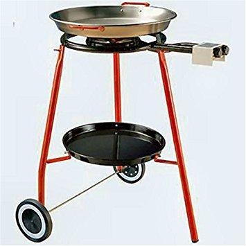 Paella Burner - Garcima Cooking Kit on Wheels with 18-inch Carbon Steel Paella Pan