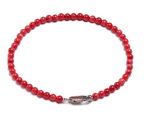 JYX Coral Bracelet Tiny 4mm Red Round Coral Beads Bracelet 7.5