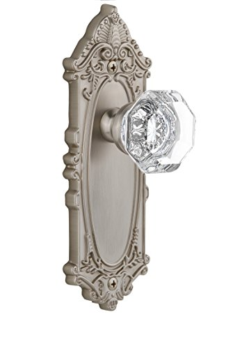 Grandeur Grande Victorian Plate with Chambord Crystal Knob, Single Dummy, Satin Nickel