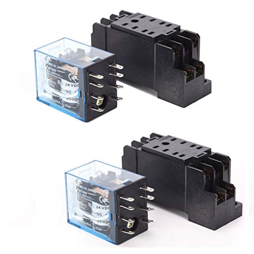 - HH52P 110/120VAC Coil DPDT 8 Pins Electromagnetic Power Relay w DYF08A Base (2 pcs)
