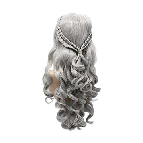 Cosplay Wig Jewelry Wavy Curls Gold Silver Long Wig Halloween Makeup Props,Same As The Picture