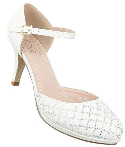 Damen Pumps Schuhe High Heels Stöckelschuhe Stiletto Rot Rot Schwarz Gold Silber Weiß 36 37 38 39 40 41 Weiß