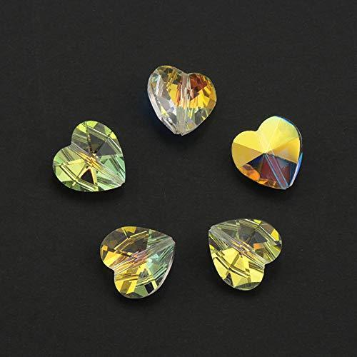 (RanMory31 Glass Heart Pendant 14Mm 28Pcs Straight Hole Charms Crystal Beads Heart Glass Beads Pendant Gems Rhinestones for Earrings Making DIY)