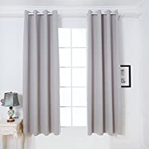 DREAM ART Anti-Microbial Super Soft Thermal Insulated Curtain/Drape for Nursery,Children Kids Bedroom Eyelet Blackout Curtains for Livingroom Energy Saving Noise Reducting(52x95-2panels, Grey)