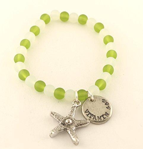 Vitamin Sea Green White Seaglass Charm Bracelet - Beach Summer Jewelry - Stretchy - Vacation