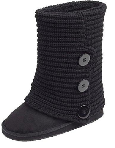 amby Women's Rib Knit Sweater Boot (7.5, Black Triple 91006) -