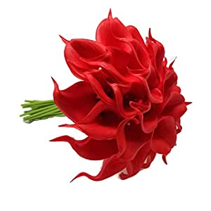 FRP Flowers 20 PCS Real Touch Calla Lily Latex Flowers for Artificial Floral Arrangements, Bridal Bouquets, and Home Decor (Firecracker Red)
