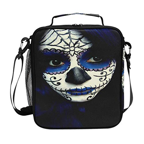 Guy Sugar Skull Makeup Lunch Bag Womens Insulated Lunch Tote Containers Zipper Square Lunch Box for Kids -