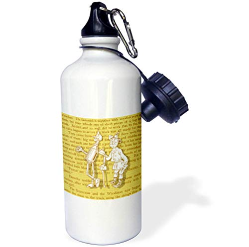 3dRose Russ Billington Designs- Wonderful Wizard of Oz - Scarecrow and Tin Woodman Over Yellow Brick Road Pattern and Book Text - 21 oz Sports Water Bottle (wb_302298_1) -