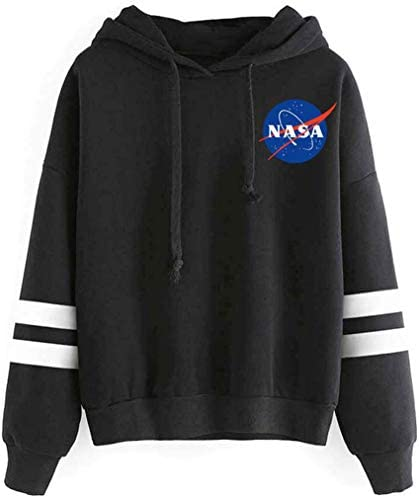 FLYCHEN Women's Fashion NASA Hoodie National Space Administration Logo Sweatshirt
