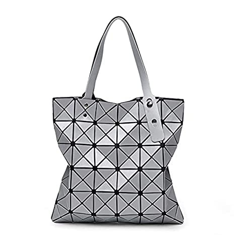 9d3f10d487c4 Image Unavailable. Image not available for. Color  DingXiong Japan Bao  Diamond Lattice Tote 66 Handbag Lady Geometry Laser Women ...