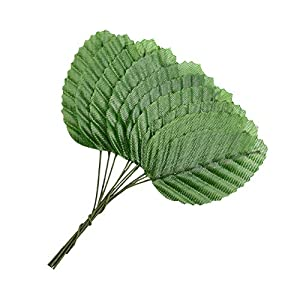 HZOnline Artificial Silk Green Leaves, Fake Faux Wired Single Leaf for Crafts Scrapbooking Floral Arrangements Home Kitchen Wedding Garland Party Decorations (200pcs) 3