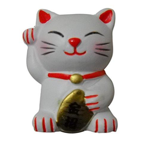 3D Refrigerator Resin Magnets Japan Maneki Neko Lucky Beckoing Cat (White)
