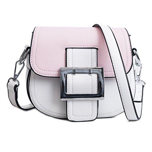 Liu Yu·casa creativa Bolso de Crossbody Bolso de Mujer Bolso de Hombro Femenino Bolso de Mensajero Salvaje Simple Bolso Cuadrado de Moda Mini (Color : Pink) Pink