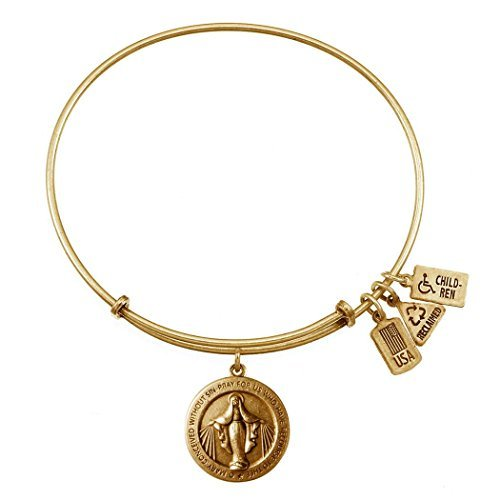 Wind & Fire Miraculous Medal Gold Finish Charm Bangle by Wind and Fire