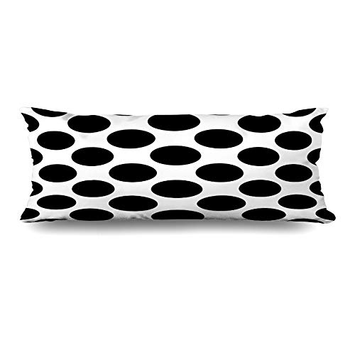 Ahawoso Body Pillows Cover 20x60 Inches Circle Abstract Black White Big Polka Classic Color Cute Dot Dress Design Decorative Zippered Pillow Case Home Decor Pillowcase