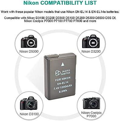PHOTO MASTER EN-EL14 EN-EL14a Batería Reemplazo (1200mAh) para Nikon D5500, D5300, D5200, D5100, D3500, D3300, D3200, D3100, DF, COOLPIX P7800,COOLPIX ...