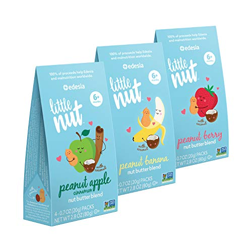 Little Nut Peanut Nut Butter Blend Variety Pack, Baby and Toddler Snacks, Non-GMO, Reduce Risk of Peanut Allergy, 12 Count