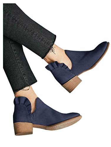LAICIGO Womens Ruffled Ankle Booties Chunky Low Heel Cut Out Slip-on Pointed Toe Western Shoes (11 B(M) US, 1-Navy)