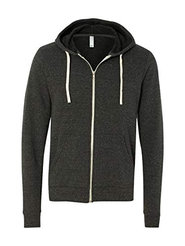 Bella + Canvas Unisex Triblend Sponge Fleece Full-Zip Hoodie (Charcoal Black Triblend) (S) ()