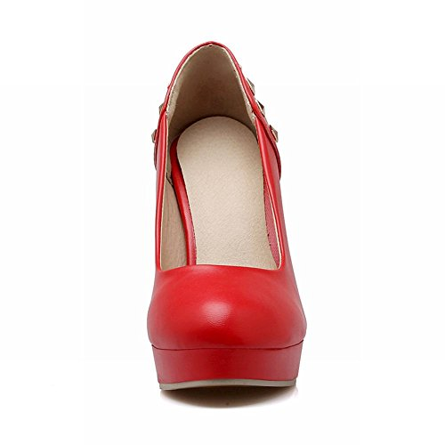 Carolbar Womens Sexy Studded Fashion Rivet Wedding Party Charm High Heel Dress Pumps Shoes Red mkio4eQY70