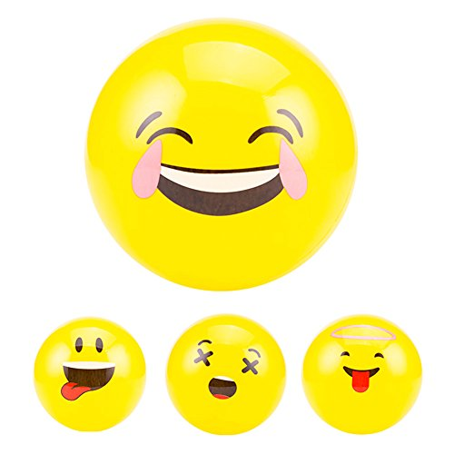 Lanlan 1Pcs Emoji Balloons Smiley Beach Ball Face Expression Toy Yellow Latex Balloons Cartoon Inflatable Balls colour:Yellow; diameter:22cm9 inch (Beach Barbie Costume)