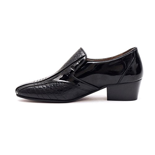 f5571e47afd71 Lucini Mens Formal Cuban Heels Croc Leather Slip On Wedding Shoes Black  Patent