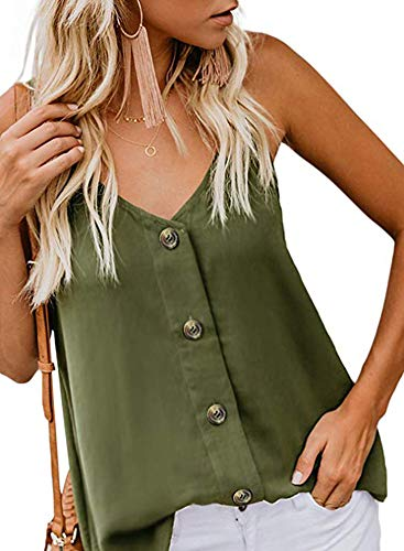 Jug&Po Women's Button Down V Neck Strappy Tank Tops Loose Casual Sleeveless Shirts Blouses Green Large