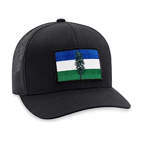 Cascadia Flag Hat - PNW Trucker Hat Baseball Cap Snapback Golf Hat (Black)