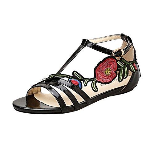 Casual Mode Pas Femmes Broderie Floral Romain Cher Rose Plage À Sandales La Chaussures lanskirt De Noir FCwYxx