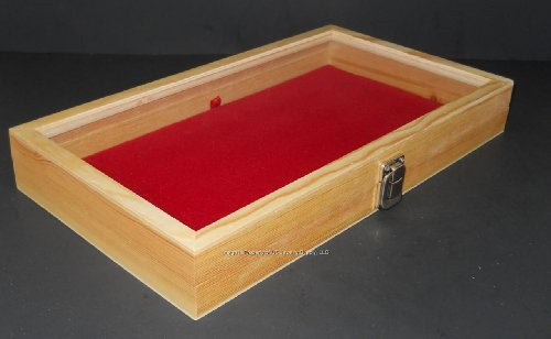 Natural Wood Glass Top Lid Red Pad Display Box Case Medals Awards Jewelry Knife (Award Medals Display Case compare prices)