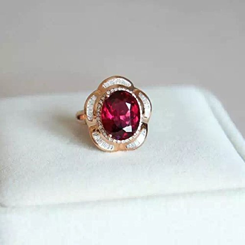 - 4.65 Carat Rhodolite Garnet Engagement Ring In 14K Rose Gold