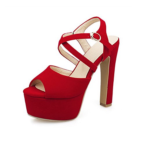 AmoonyFashion Womens Buckle Frosted Peep-Toe High-Heels Solid Sandals Red cb8T2