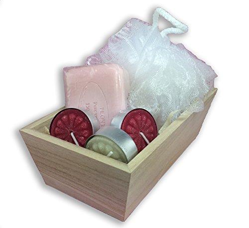 Women's Bath Spa Gift Set, Pre de Provence Shea Butter Soaps (Peony)