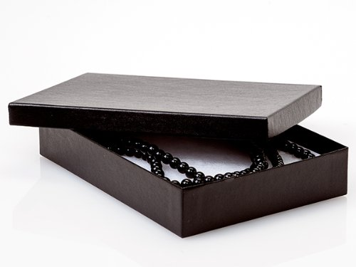 7x5x1-1/4 Black Embossed Boxes Jewelry Box w/ Non-tarnish Cotton (Unit Pack - 100) by Better crafts