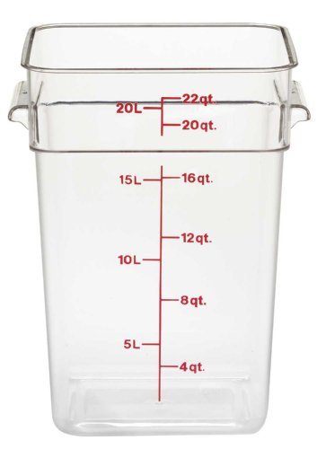 Cambro 22SFSCW135 Camwear Polycarbonate Square Food Storage Container, 22 Quart, Clear