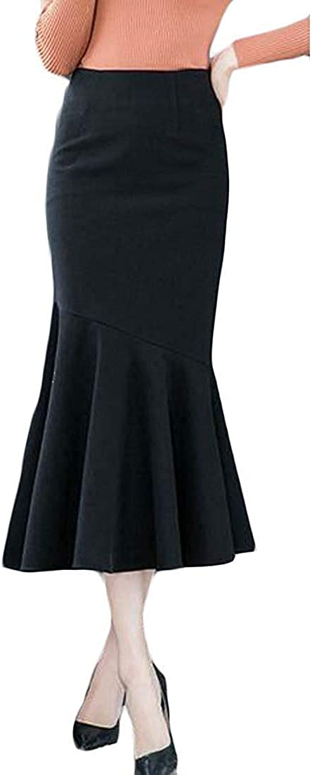Women Fall & Winter Wool Blend Ruffle Bodycon Work Midi Fishtail Skirt