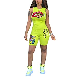 Angsuttc Women's Printed 2 Piece Outfits Crew Neck Tank Top and Bodycon Biker Shorts Set Jumpsuit Green XXL