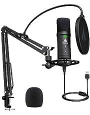 Micrófono USB de Condensador Kit 192 KHZ/24 bits Plug & Play Computadora cardioide Mic Podcast con Chipset de Sonido Profesional para PC Karaoke Gamer Streaming YouTuber Grabación