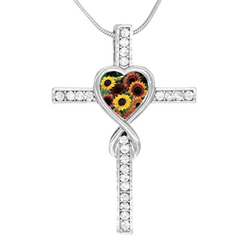 M100% Cross Love Heart Infinity God 3D Print Jewelry Sunflower Cross Pendant Necklace