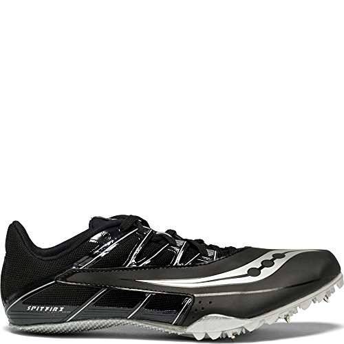 Saucony Men's Spitfire 4 Track and Field Shoe, Black/Silver, 9.5 Medium US
