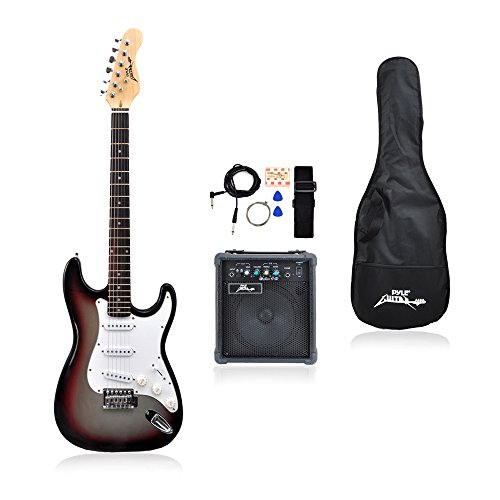 PylePro Full Size Electric Guitar Package w/Amp, Guitar Bundle, Case & Accessories, Electric Guitar Bundle, Beginner Starter Package, Strap, Tuner, Pick, Ready to Use Out of the Box, Grey (PEGKT15GS)