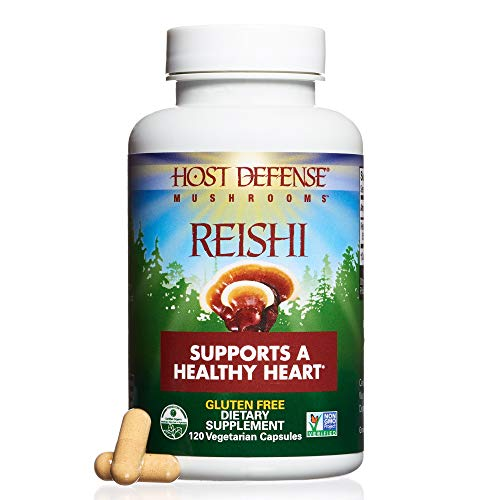 Host Defense – Reishi Mushroom Capsules, Naturally Supports a Healthy Heart and Cardiovascular System, Energy, Stamina, and Stress Response, Non-GMO, Vegan, Organic, 120 Count