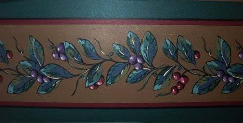 Fuchsia Berry (Fuchsia Berries on Hunter Green & Bronze Background Border JC805B)